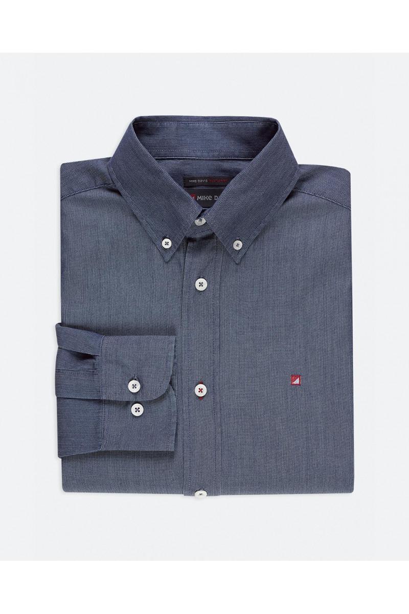 Camisa Regular Risca Indigo...