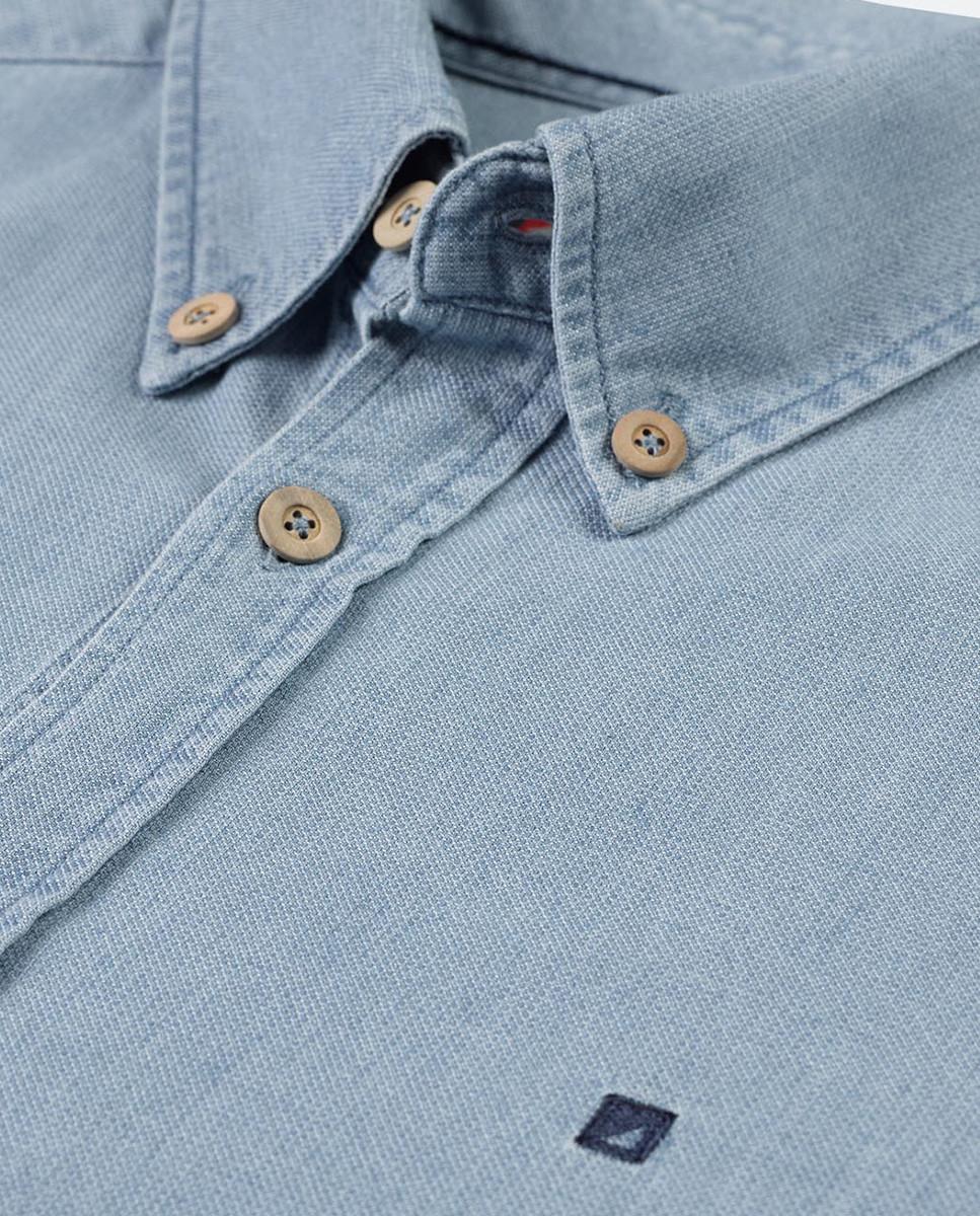 Camisa Slim Indigo Ponto c/Bordado