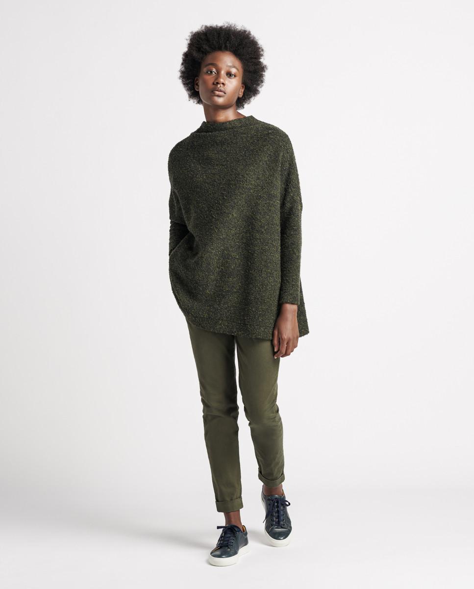 Camisola de malha bouclet verde