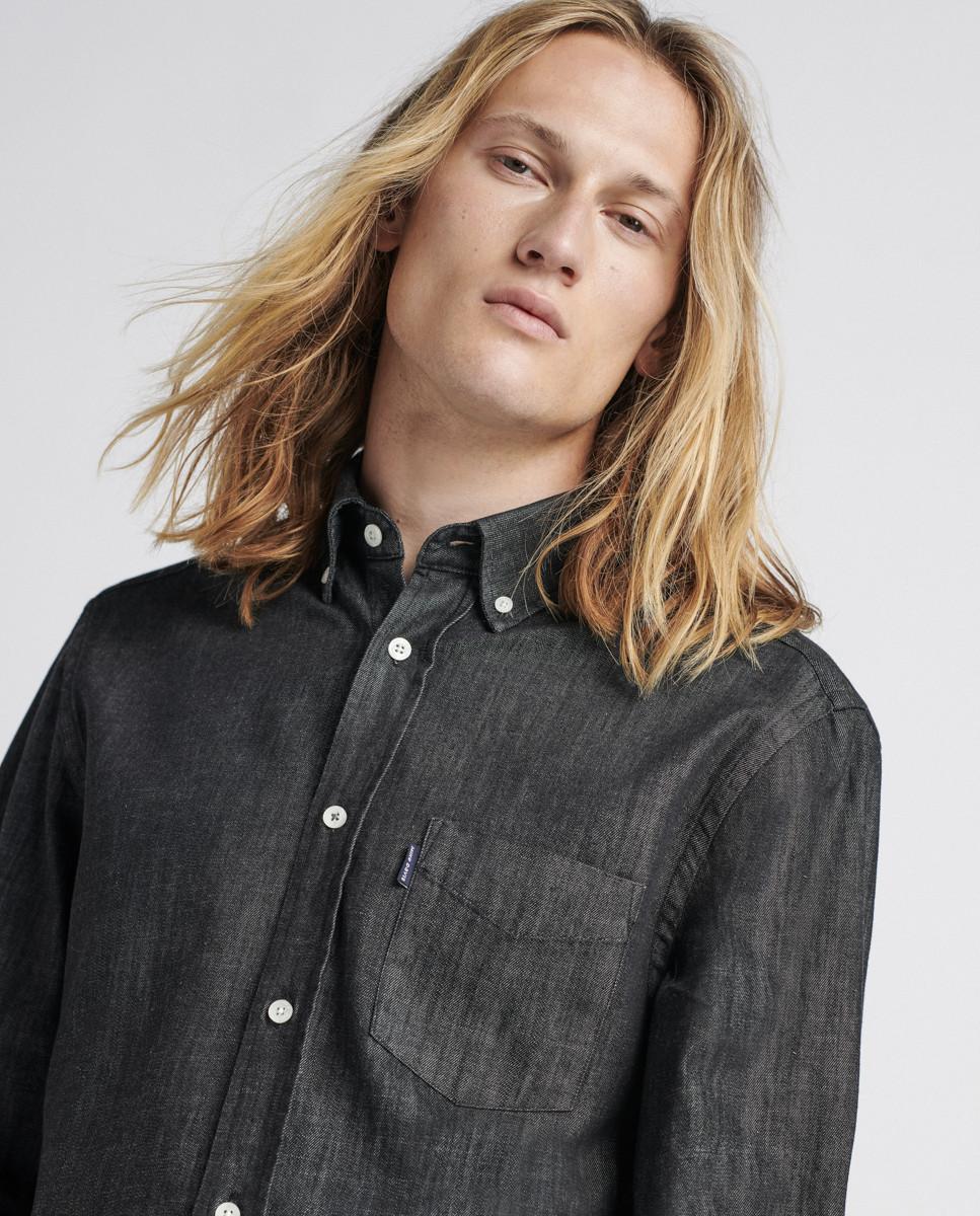 Camisa Regular Black Denim c/ Bolso