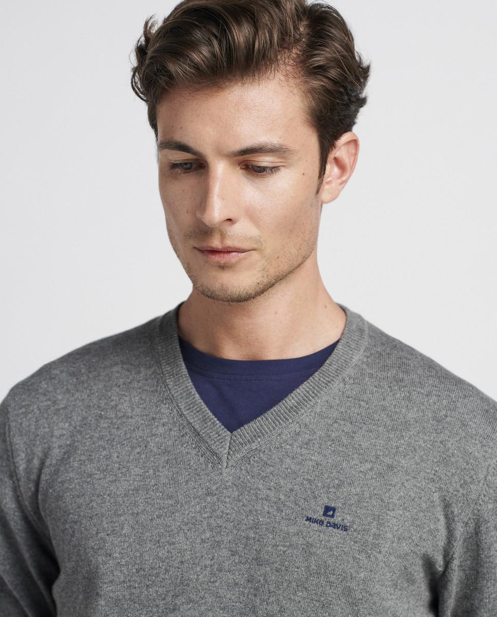 Pullover V'Neck Algodão/Lã